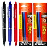 Pilot FriXion Clicker Retractable Gel Ink Pens, Eraseable, Fine Point 0.7mm, Assorted Ink, Pack of 3 with Bonus 2 Packs of Refills