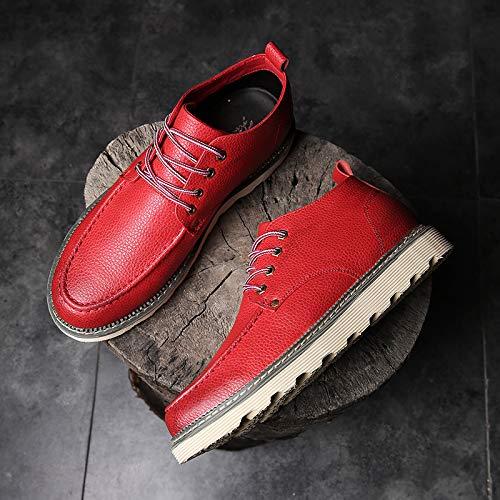 EAOJRSCSA Martin Stiefel Herren High-Top Lederstiefel Retro Werkzeug Stiefel Trend Rote Stiefel Herren Wild