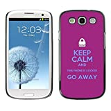 LASTONE PHONE CASE / Slim Protector Hard Shell Cover Case for Samsung Galaxy S3 I9300 / Locked Padlock Purple Text Hands