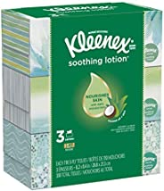 Kleenex Soothing Lotion Facial Tissues, Hypoallergenic, 3 Rectangular Boxes, 110 Tissues per Box (330 Tissues