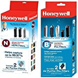 Honeywell Filter N True HEPA Replacement Filter (HRF-N2), Honeywell Filter B Household Odor & Gas Reducing Pre-filter (HRF-B2)