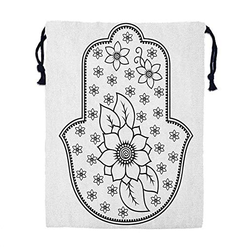 Men's dust cover shoe bag Hamsa,Ancient Hand of Fatima with Cute Lotus Blossoms Kabbalah Theme Mehndi Style Artwork, Black White,Polyester Bag