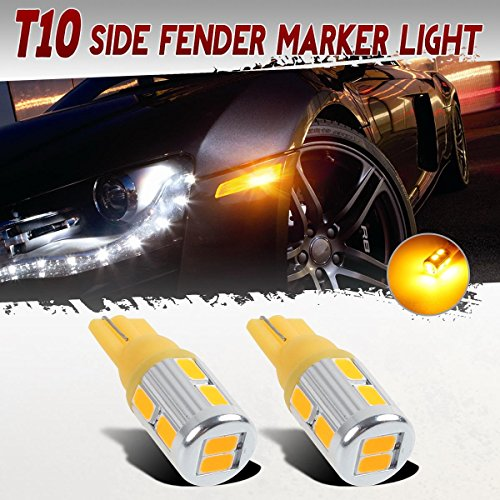 Partsam 2 Pcs T10 168 194 2825 Wedge Amber 10-5730-SMD Led Front Side Fender Marker Lamps Light, W5W Led Replacement Bulbs for Replacing Car License Plate Interior Map Dome Courtesy Cargo Lights