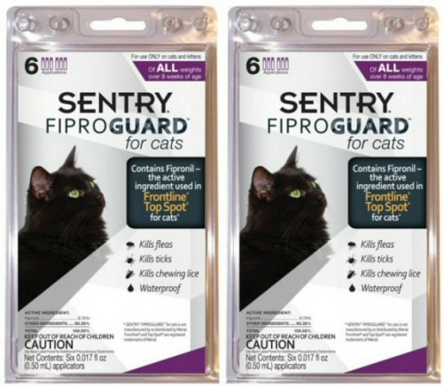 SENTRY FiproGuard Cat Flea & Tick Squeeze-On 12 month (2 x 6mo)