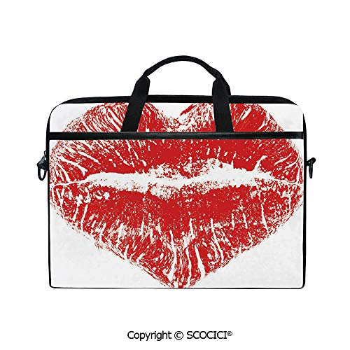 - Personalized Laptop Bag 14-15 Inch Messenger Bag Red Lipstick Mark in The Shape of a Heart Expression Passion Romance Sensuality Theme Decorative Shoulder Sleeve Case Tablet Briefcase