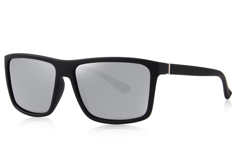 MERRY'S Men Polarized Sunglasses Fashion Male Sun glasses 100% UV Protection S8225 (Silver, 58)