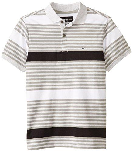 Calvin Klein Big Boys' Reveal Stripe Pique Polo, Black, Medium