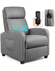 Giantex Recliner Massage Chair, Ergonomic Adjustable Single Sofa with Padded Seat, Backrest, Footrest, Home Theater Seating Reclining Sofa with Remote Control, Modern Massage Recliner for Living Room
