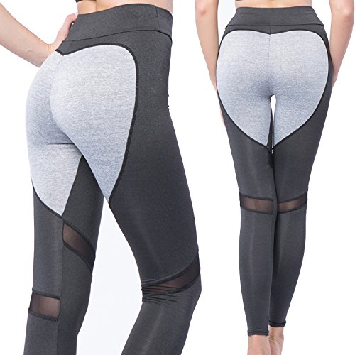 CROSS1946 Fashion Women's Active Yoga Pants Heart Shape Butt Printing Capris Waistband Fitness Leggings Workout Tights