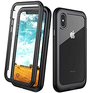 Eonfine iPhone X Case/iPhone Xs Case, Built-in Screen Protector Real 360° Full Body Protection Heavy Duty Shockproof Rugged Cover Skin for iPhone X/Xs 5.8inch (Black/Clear)