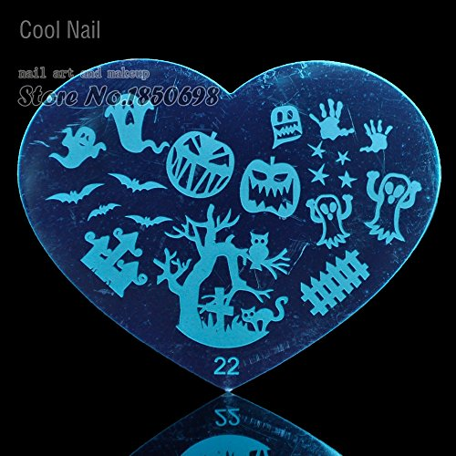 New Arrival Nail Supplies Stamping Template Nail Art Print Plate Tool Metal Template Halloween Theme Nail Decoration + 1pc stamper H22 (New Halloween Nail Art)