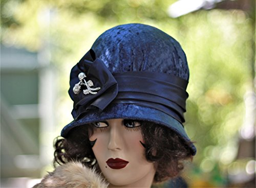 1920s Handmade Cloche Hat in Velvet Fall Winter by Hats by Gail
