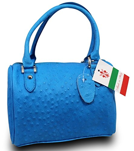 Made in Italy Handtasche BAG Tasche Strauss Optik Ledertasche Clutch Blau