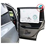 ggomaART Car Side Window Sun Shade Universal Reversible Magnetic Curtain for Baby and Kids with Sun Protection Block Damage from Direct Bright Sunlight, Heat, and UV Rays - 1 Pack of Animal 1