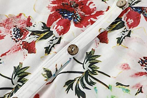 Geckatte Girls Floral Boho Short Sleeve T Shirt Kimono V Neck Button Down Boho Outfit Casual Tops Blouses 7