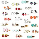 Gold Plated&Sliver Plated 26 Pairs Stainless Steel Post Multiple Animal Artificial gem Stud Earrings Set for Girls lady women (26 pairs)