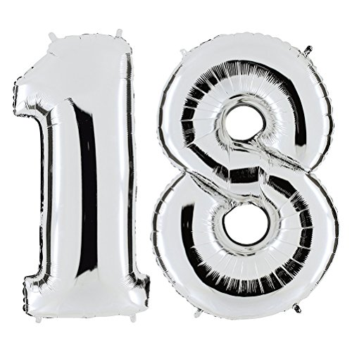 ULTNICE 40-inch Number 18 Foil Balloons Number Balloons for Birthday Wedding -