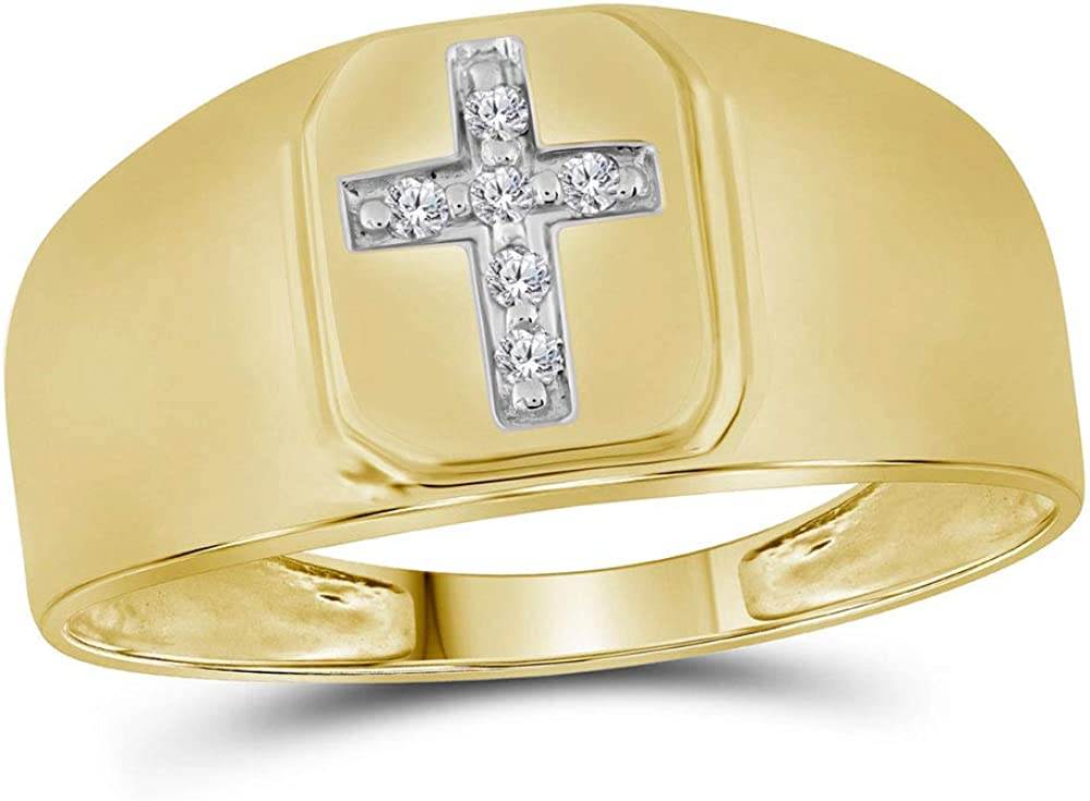 14kt Yellow Gold Mens Round Diamond Brushed Cross Band Ring 1//20 Cttw