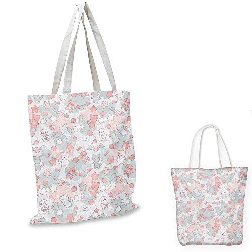 Doodle fashion shopping tote bag Cartoon Styled Cute Cats Bats and Skulls Japanese Inspired Kawaii Design canvas bag shopping Pale Pink Pale Blue. 13