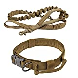 Pack of 2 Pcs Large Dog Collar and Leashes for Tactical Training K9 Service Working Hiking (L, Coyote brown)