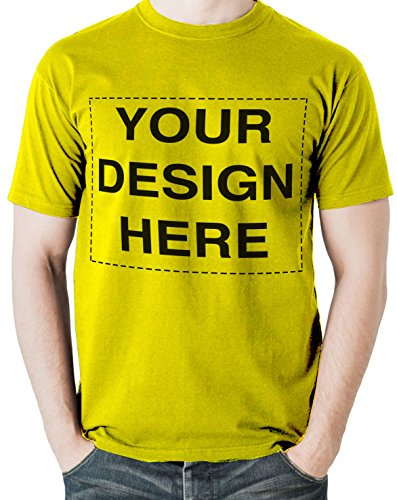 T-shirt Yellow Text - Custom Tshirts Design Your Own Text or Image Adult Unisex T-Shirt (Medium, Yellow)