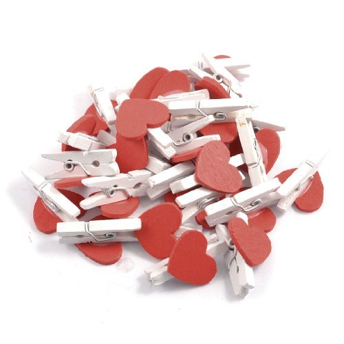 50 Pcs Red Heart Accent White Wooden Spring Clothespins Memo Clips - 5