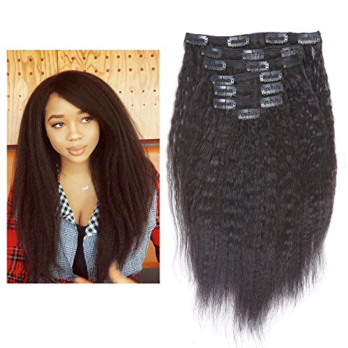 """LacerHair 10"""" 7 Pcs 120G Kinky Straight Remy Clip in Human H"""