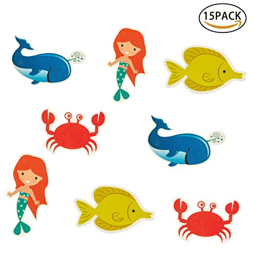 Creature Bath (Homfshop 15 Pack Non-Slip Bathtub Stickers - Large Sea Creature Safety Shower Treads Non-slip PVC Pads Best Adhesive Appliques for Bath Tub and Shower Surfaces)