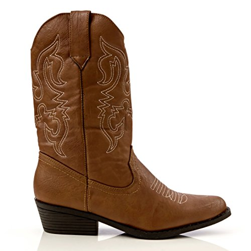 Review Charles Albert Women's Western Style Embroidered Cowboy Boot In Cognac Size: 9