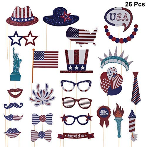 Amosfun 4th of July Photo Booth Props Kit DIY Selfie Props Funny Photo Props for American Independence Day Pose Sign 26pcs
