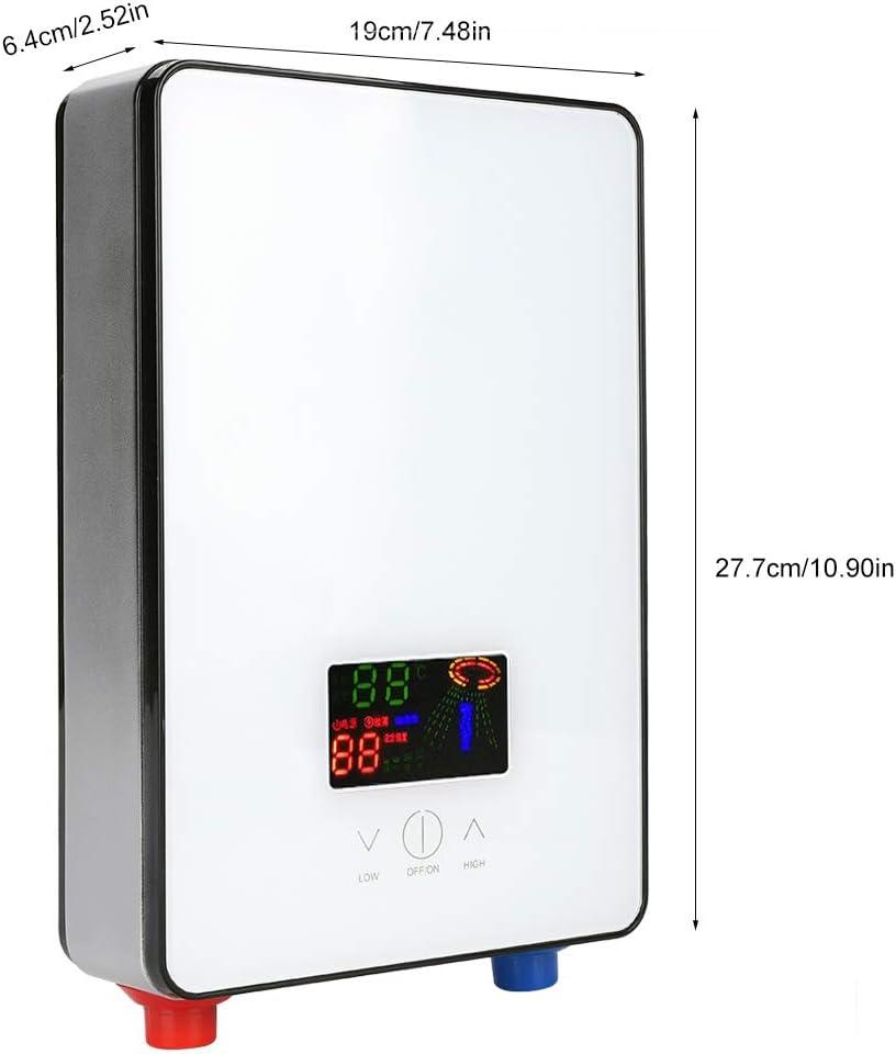Lecxin Calentador eléctrico de Agua Caliente, 220V 6500W sin Tanque Calentador eléctrico instantáneo de Agua Caliente con Accesorios de instalación para baño en casa Ducha