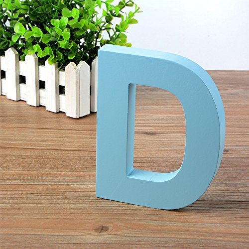 Decor Letters Name (Wooden Hanging Wall Letters D - Blue Decorative Wall Letter Children's Nursery Baby's Room, Baby Name Girls Bedroom Décor)