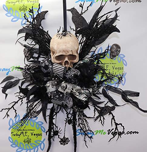 Skull Door Hanger, Halloween Wreath, Bat Decor, Spider Hallowen Decor, Scary Wreath -