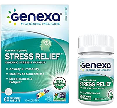 Genexa Stress & Anxiety Relief: Certified Organic, Physician Formulated, Natural, Non-GMO Verified, Homeopathic Stress Supplement (60 Chewable Tablets)