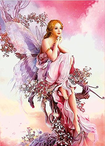 5D DIY Full Drilled Round Beads Diamond Painting Cross Stitch Round Diamond Embroidery Butterfly Fairy (30x40)CM