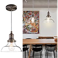 Donglaimei Vintage Clear Glass Pendant Light, Edison...
