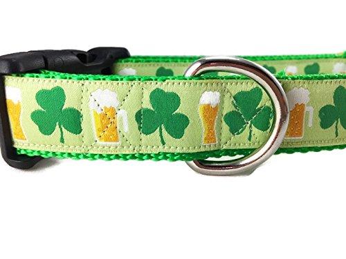 "St Patricks Dog Collar, Caninedesign, Shamrock, Beer, Leprechaun, 1 inch Wide, Adjustable, Nylon, Medium and Large (Shamrocks and Beer, XL 18-26"")"