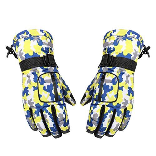 New!DEESEE(TM)Winter Waterproof Anti-Slip Outdoor Sports Warm Thermal Velvet Ski Snow Gloves (Yellow) -