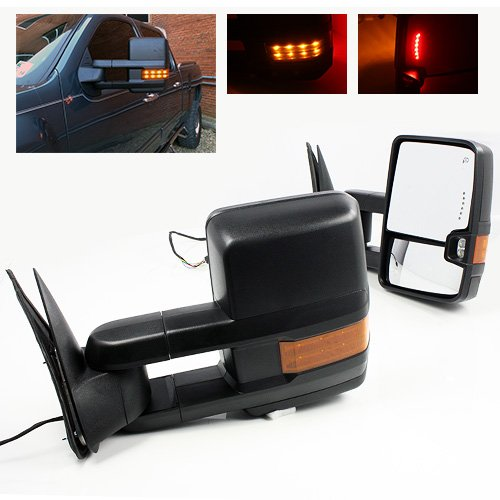 ModifyStreet Power Side Towing Mirrors with Turn Signal and Heated Defrost and Clearance Light for 14-17 Chevy Silverado Avalanche Tahoe Yukon/XL/Denali Suburban or GMC Sierra- 1 Pair included ()