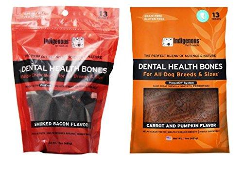 (Indigenous Grain Free Dental Health Bones 2 Flavor Variety Bundle: (1) Smoked Bacon Flavor, and (1) Carrot & Pumpkin Flavor, 17 Oz. Ea.)