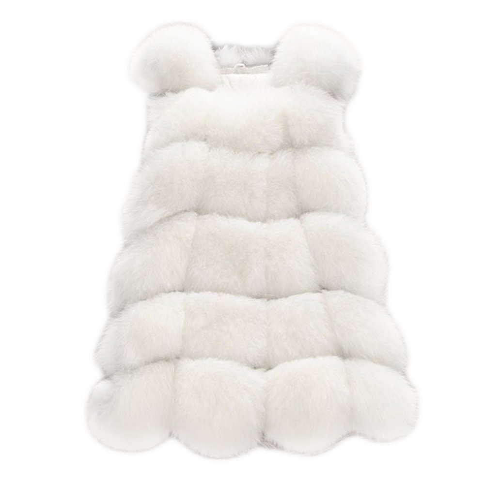 mioim Women's Warm Gilet Outwear Long Slim Vest Faux Fox Fur Waistcoat Jacket Coat