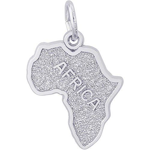 Sterling Silver Africa Map Charm - 8