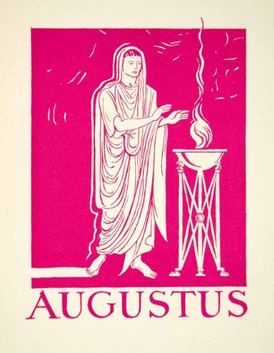 1947-lithograph-imperator-gaius-julius-caesar-augustus-romanus-genevieve-foster-original-in-text-lit