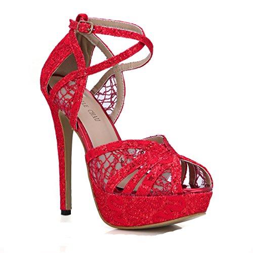Sandalias Alto Dama Chau Abierta de Mujer o Nupcial Rojo Zapatos de Boda CHMILE Novia de Plataforma 3cm para Correa Sexy Punta Fiesta de Talón Delgado Aguja Vestido Tacon Tobillo dIqw0wZ