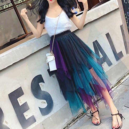 Violet Irrgulire Taille Couleur Jupe Contraste Splicing Haute Deaman Jupe Moyen De Longue Mesh Tendance Plisse t Mode wq1x7xSa