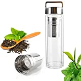 Portable Glass Tea Infusers with Stainless Steel Cool Tea Infuser & Strainer for Loose Leaf Tea and Fruit Water, 400ml Glass Travel Tea Infuser With Lid Handle Keeps Beverages Hot or Cold