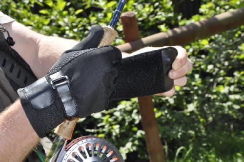 ペアのGripeeze釣り手袋with ExtraグリップPalms moreグリップときでも濡れ、指なしインデックス指、ダブル手首ストラップ、グリップストラップto Relieveテンションと手首Ache &ラップAwayストラップシステム–最高の手袋の釣り(Small, Left Hand Strap)