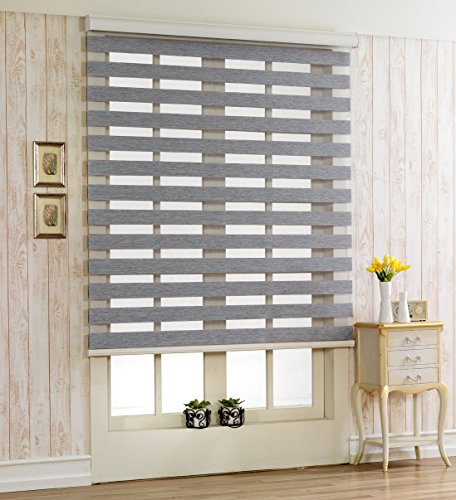 Foiresoft Custom Cut to Size, [Winsharp Woodlook 91, Grey, W 91 x H 78 inch] Horizontal Window Shade Blind Zebra Dual Roller Blinds