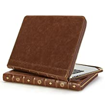 GMYLE Book Case Vintage for MacBook Air 13 inch / MacBook Pro 13 inch - Brown Classic Crazy Horse Pattern Premium Quality PU Leather Notebook Laptop Zipped Sleeve (Not Fit For Retina Macbook Pro 13)