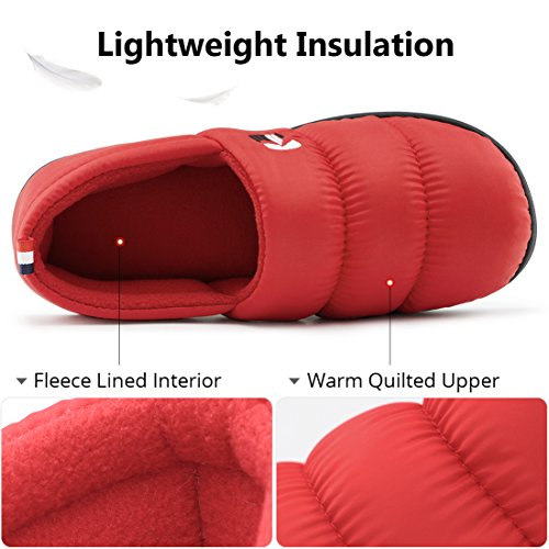 Rockdove Warm Fleece House Down Foam Slippers Shoes Red Outdoor Lined Indoor Memory Coral Women's crR4Brf